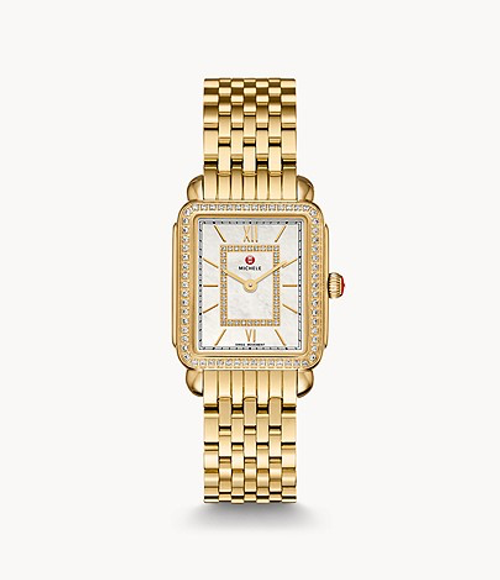Michele Deco II Mid Gold Watch with White MOP and Diamond Dial
