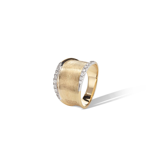 Lunaria 18k hand engraved yellow gold and diamond ring