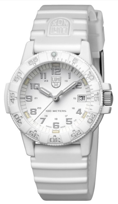 Luminox Sea Collection Leatherback Turtle watch with white dial and white band.