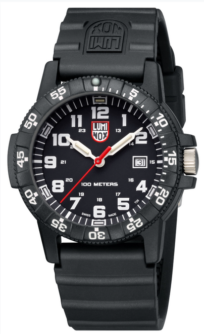Luminox Leatherback Sea Turtle Giant watch with black dial and band.