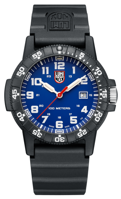 Luminox Sea Turtle Giant Watch 0323 with blue face, black dial, black leather band.