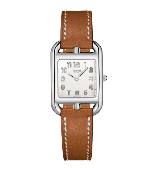 Cape Cod watch by Hermes with brown leather band.