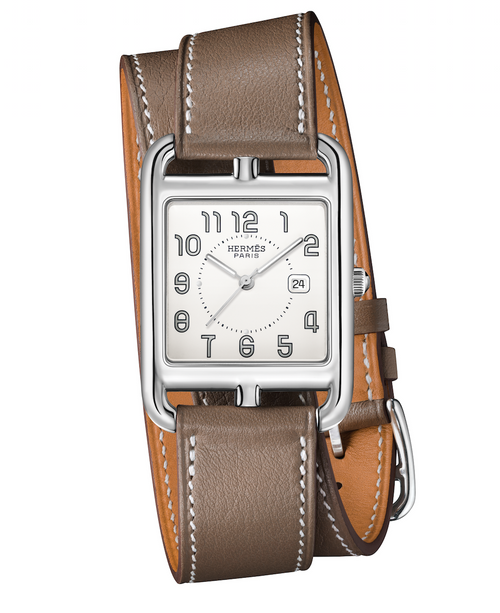 Cape Cod Hermes women's watch with taupe leather band.