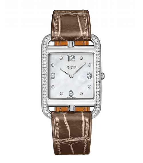 Cape Cod Hermes women's watch with diamond case, alligator band, and mother of pearl dial.