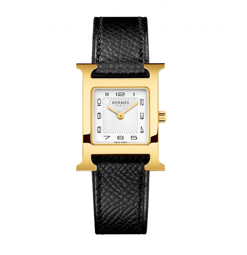 Hermes Heure watch with H case and black leather band. Iconic to the brand and instantly recognizable.