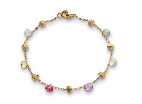 Marco Bicego Paradise Mixed Stone bracelet with 18k yellow gold. Multiple colors of semi-precious stones