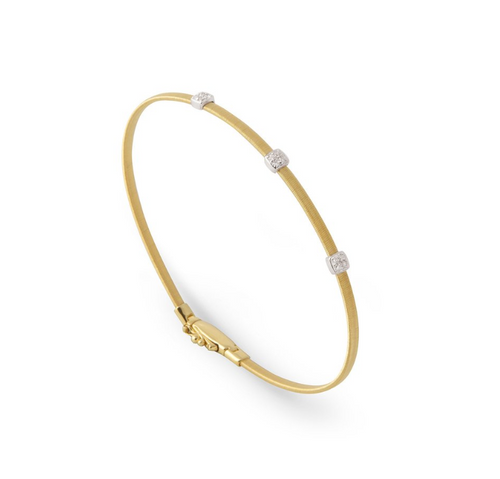 Marco Bicego Masai Collection Yellow Gold bracelet with 3 diamonds, 0.9ct weight.