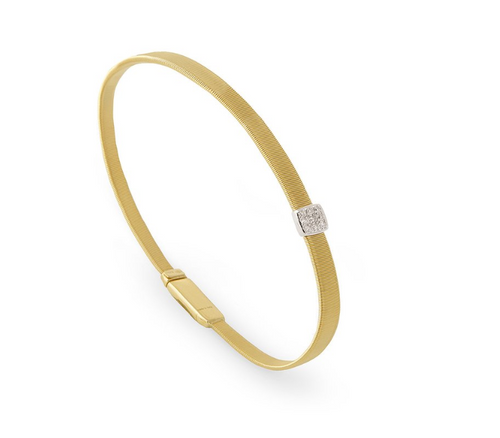 Marco Bicego Masai Collection with single station pave diamond in 18K yellow gold.