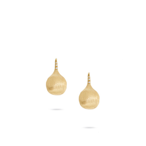 Marco Bicego Africa Boule 18k hand engraved yellow gold drop earrings with diamond accents SKU OB1632ABY
