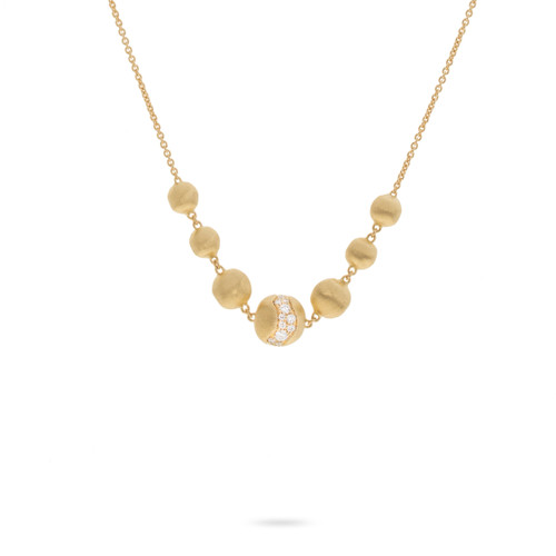 Marco Bicego Africa Constellation 18k hand engraved yellow gold diamond necklace  SKU CB2328B2Y