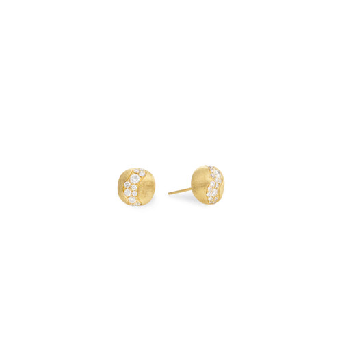 Marco Bicego Africa Constellation 18k hand engraved yellow gold and diamond stud earrings  SKU OB1587BY