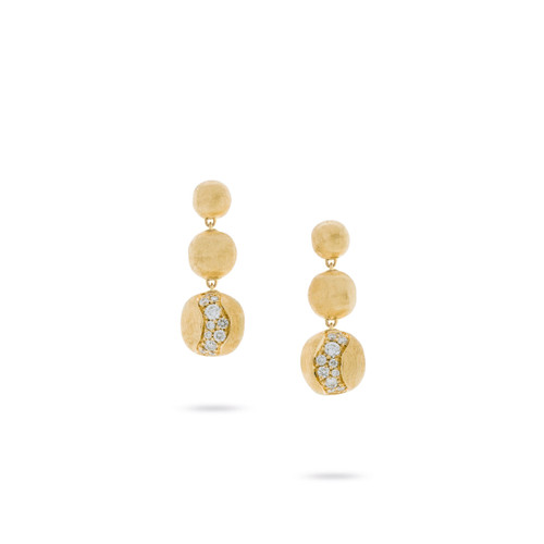 Marco Bicego Africa Constellation 18k hand engraved yellow gold and diamond drop earrings  SKU OB1613BY