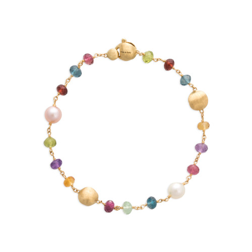 Marco Bicego Africa Gemstone 18k hand engraved yellow gold, multicolored gemstone & pearl bracelet  SKU BB2418PLMIX01