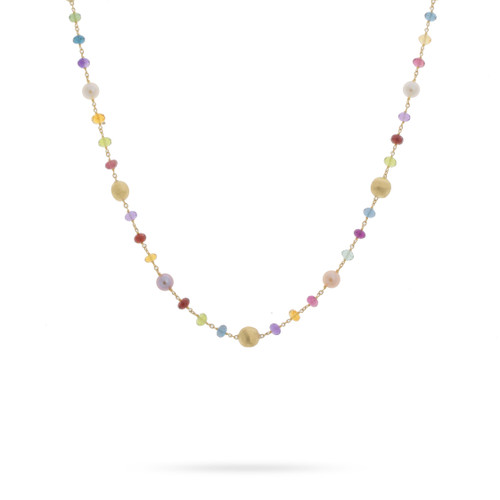 Marco Bicego Africa Gemstone 18k hand engraved yellow gold, multicolored gemstone & pearl necklace  SKU CB2418PLMIX01