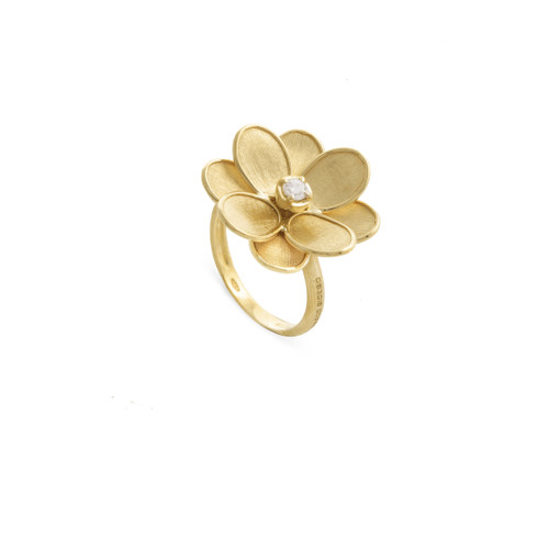 Marco Bicego Petali 18k hand engraved yellow gold and diamond flower ring  SKU AB605BY