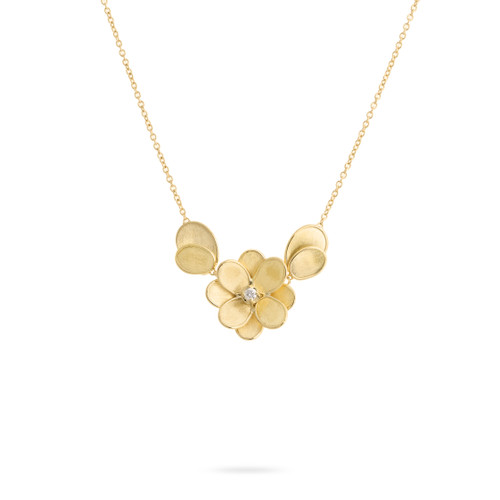 Marco Bicego Petali 18k hand engraved yellow gold and diamond flower pendant  SKU CB2437BY