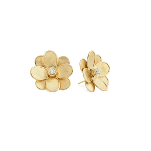 Marco Bicego Petali 18k hand engraved yellow gold and diamond flower stud earrings  SKU OB1678BY