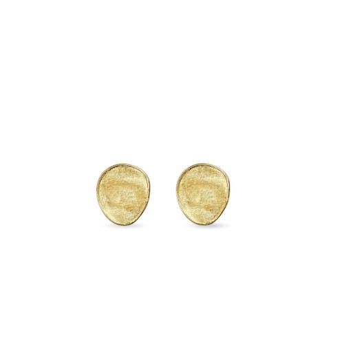 Marco Bicego Lunaria 18k hand engraved yellow gold small stud earrings  SKU OB1341Y
