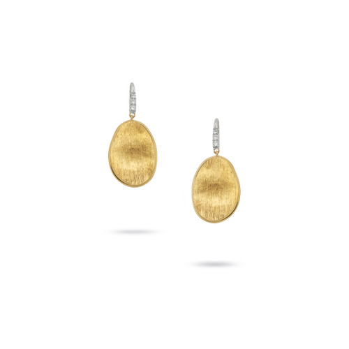 Marco Bicego Lunaria 18k hand engraved yellow gold and diamond drop earrings on french wire  SKU OB1342ABYW