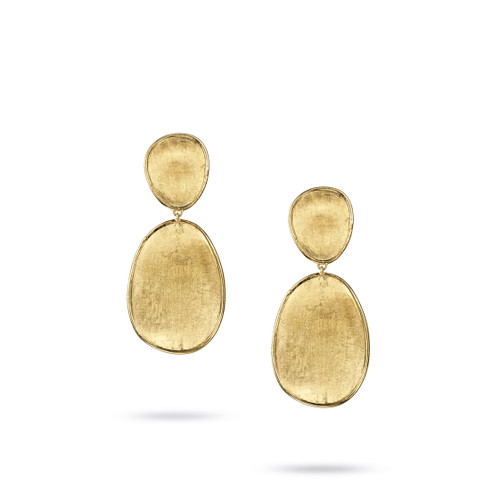 Marco Bicego Lunaria 18k hand engraved yellow gold double drop earrings  SKU OB1345Y