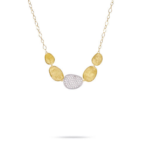 Marco Bicego Lunaria 18k hand engraved yellow gold and diamond necklace  SKU CB1974BYW