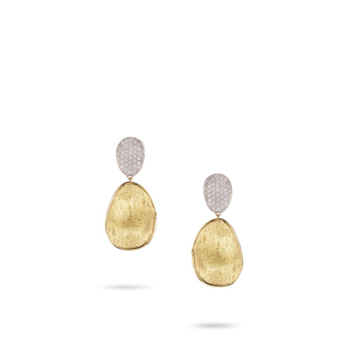 Marco Bicego Lunaria 18k hand engraved yellow gold and diamond drop earrings  SKU OB1432BYW