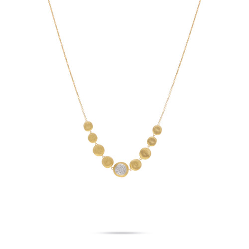 Marco Bicego Jaipur 18k hand engraved yellow gold and diamond  necklace  SKU CB2227BYW
