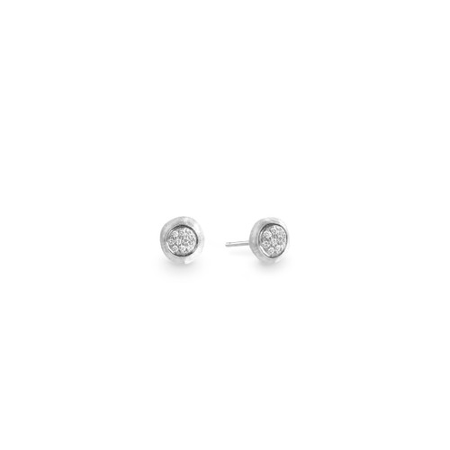 Marco Bicego Jaipur 18k hand engraved white gold and diamond Stud earrings  SKU OB1377BW