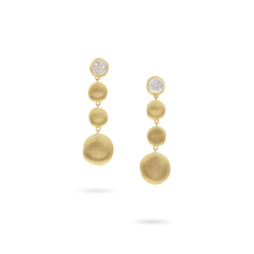 Marco Bicego Jaipur 18k hand engraved yellow gold and diamond drop earrings  SKU OB1570BYW