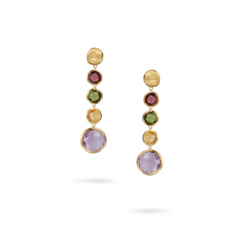 Marco Bicego Jaipur Color 18k hand engraved yellow gold and multi colored gemstone drop earrings  SKU OB901MIX01Y