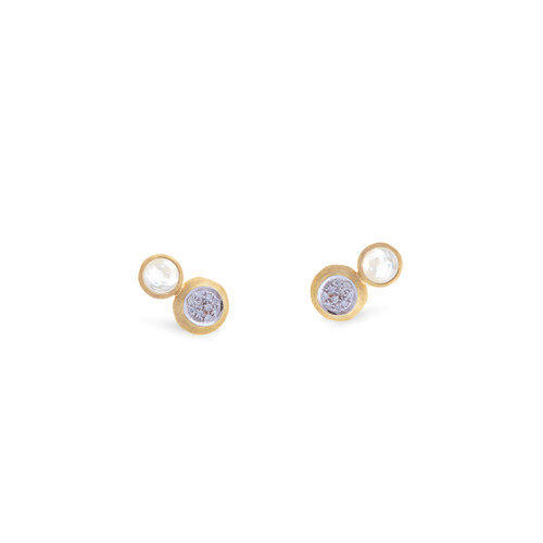Marco Bicego Jaipur 18k hand engraved yellow gold, diamond and white mother of pearl stud earrings  SKU OB1518BMPWYW