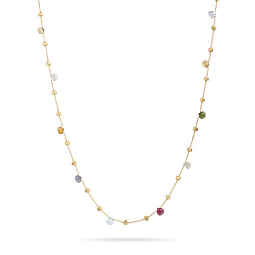Marco Bicego Paradise 18k hand engraved yellow gold and multicolored gemstone necklace  SKU CB1199MIX01Y