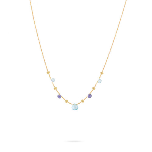 Marco Bicego Paradise 18k hand engraved yellow gold, blue topaz and iolite necklace  SKU CB1260MIX240Y