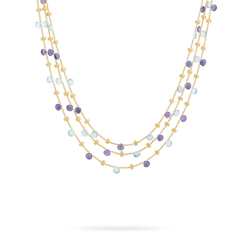 Marco Bicego Paradise 18k hand engraved yellow gold, blue topaz and iolite 3-strand necklace  SKU CB954MIX240Y
