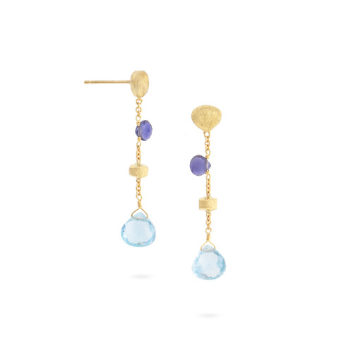 Marco Bicego Paradise 18k hand engraved yellow gold, blue topaz and iolite drop earrings  SKU OB1554MIX240Y