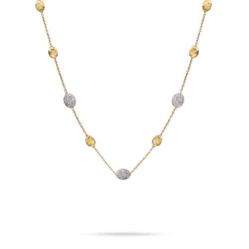 Marco Bicego Siviglia 18k hand engraved yellow gold and diamond station necklace  SKU CB1838BYW