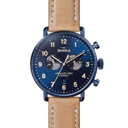Canfield 2 Eye Chrono 43mm, Natural Leather Strap