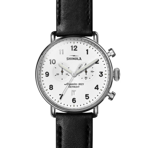 Canfield Chrono 43mm, Black Leather Strap