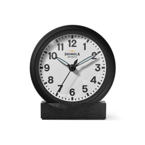 "Clock: Desk, Runwell 6"", Black/White"