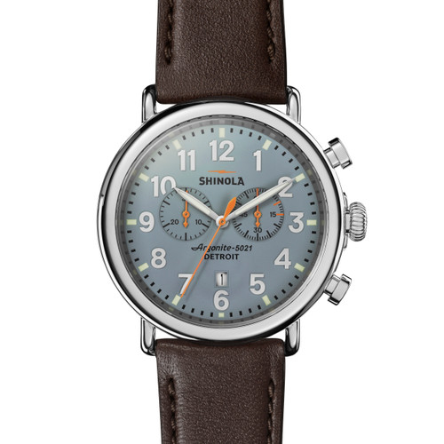 Runwell  47mm, Deep Brown Leather Strap