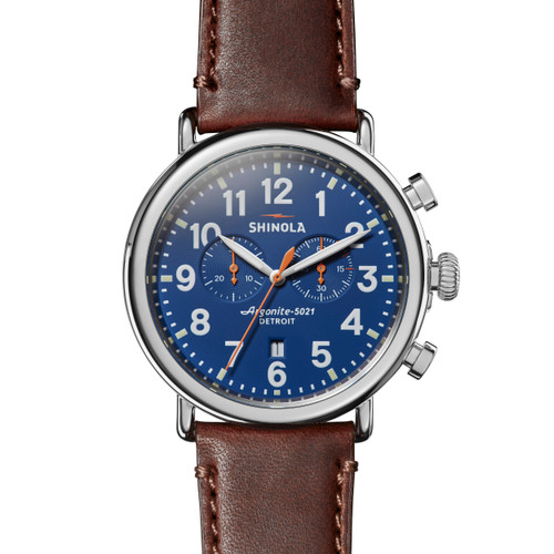 Runwell Chrono 47mm, Brown Leather Strap, Blue Dial