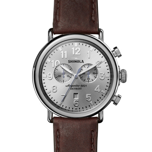 Runwell Chrono 47mm, Cattail Brown Leather Strap