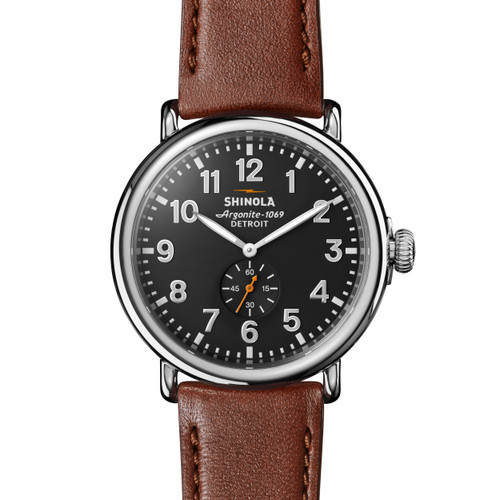 Runwell w/Sub Second 47mm, Dark Cognac Leather Strap