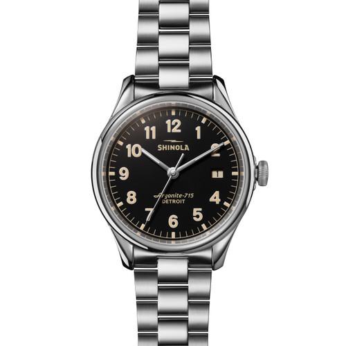 Vinton 3HD 38mm, Silver Bracelet, Black Matte