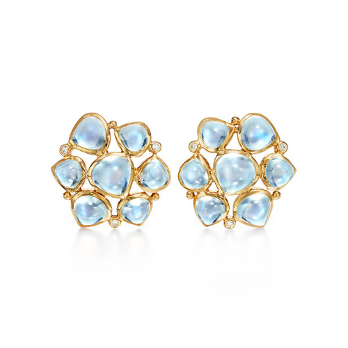 Temple St. Clair 18K Large Moonstone Cluster Earrings