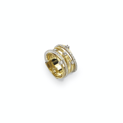 Marco Bicego® Goa Collection 18K Yellow Gold Seven Strand Diamond & Pave Ring In Yellow Gold