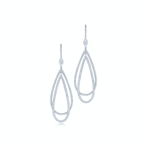 Kwiat Echo Teardrop Earrings with Diamonds