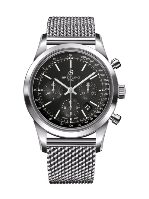 Breitling Transocean Chronograph Stainless Steel Black Dial