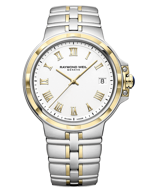 Raymond Weil Parsifal Men's Two-Tone Quartz Watch 41 mm, stainless steel bracelet, white dial, gold PVD Roman numerals