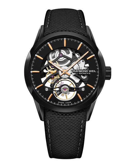 Raymond Weil Freelancer Calibre RW1212 Skeleton Automatic Watch 42 mm, stainless steel, black leather strap, open-worked black dial